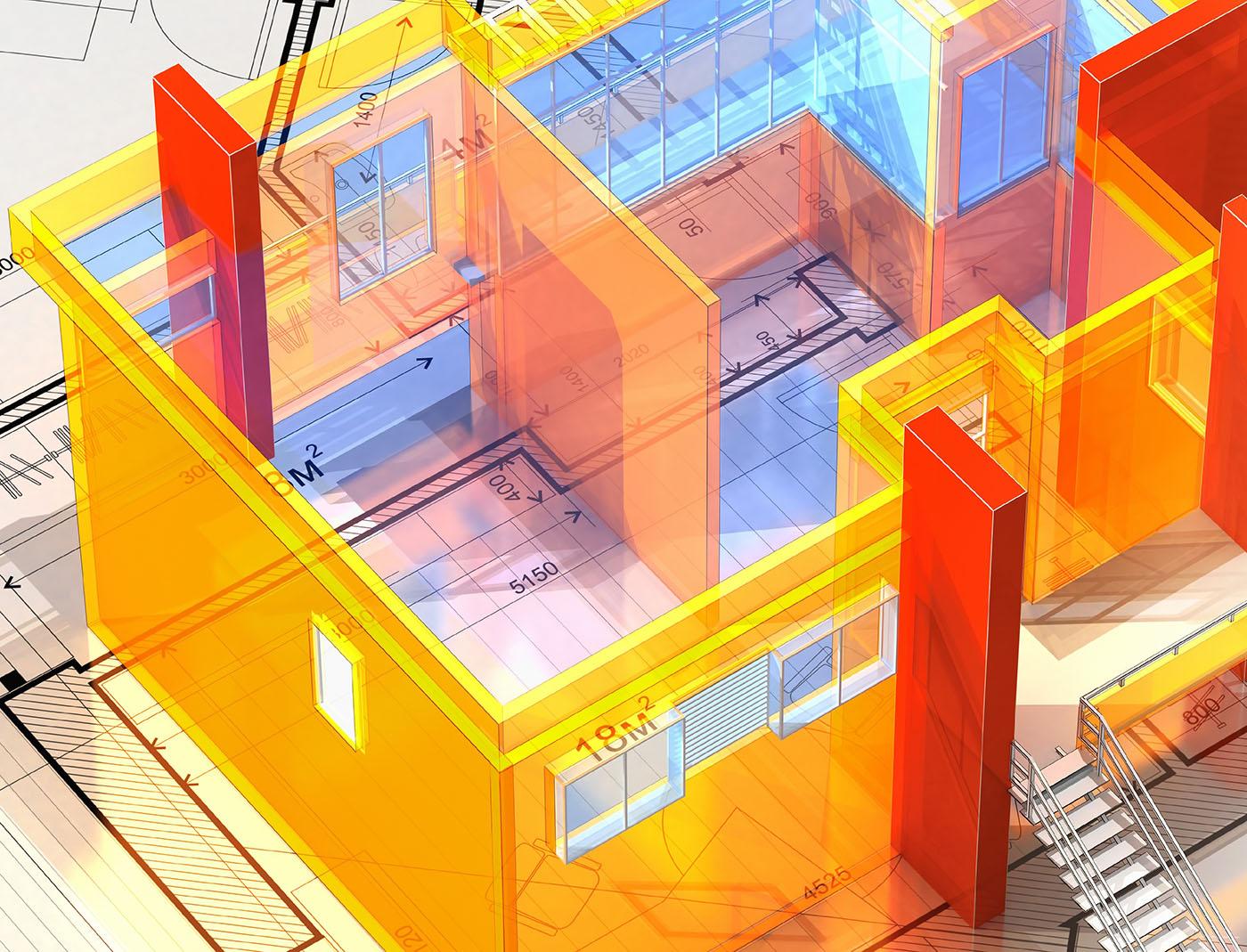 Ein virtuelles Modellhaus auf einem Bauplan